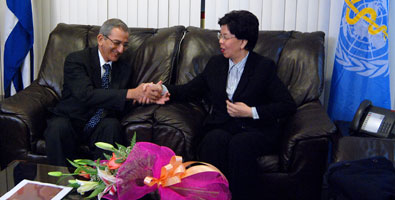 WHO Director Margaret Chan with Cuban Health Minister Jose Ramon Balaguer photo:Raul Pupo, Juventud Rebelde newspaper