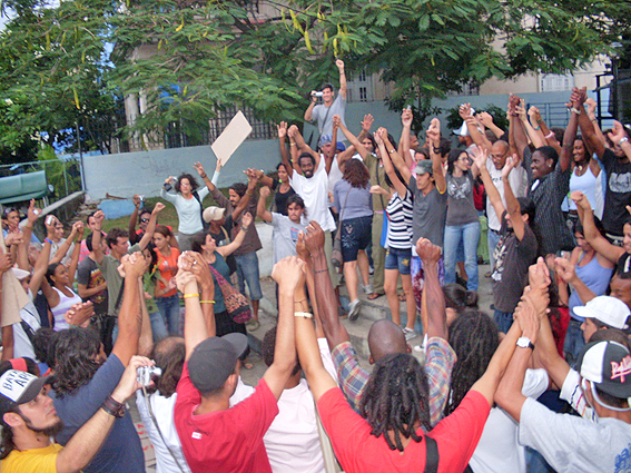 End of the march. 23rd and G Streets, Havana.