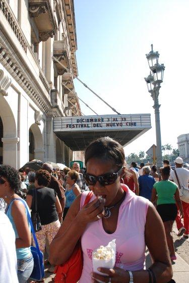 Outside Havana's Payret Theater.