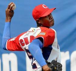 Aroldis Chapman pitching for Cuba at World Baseball Classic II in March 2009