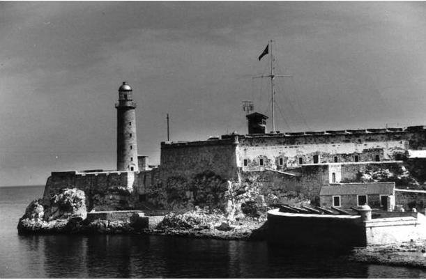 Sailing past Havana harbor and fort.