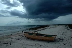 Cuban beach on a stormy  day.