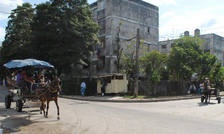 Horse drawn carts are common in the outlying areas of the capital.
