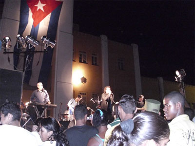 The epic band Moncada in concert in Santiago de Cuba.