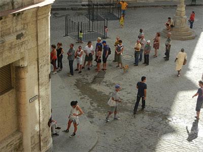 Line to enter a Cadeca money exchange in Old Havana.