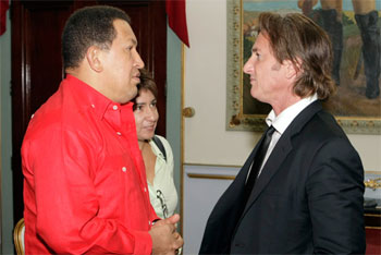 Hugo Chavez and Sean Penn in Caracas in 2009. Photo: Venezuelan government.