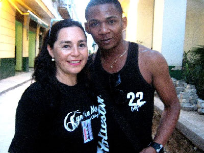 Company director Cyntia Moya with Davel, her Cuban friend, who served as guide during their stay in Cuba.