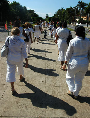 The Ladies in White during one of their Havana marches.  Photo: alongthemalecon.com