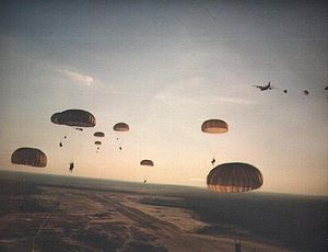 US Army Rangers parachute on to Grenada during Operation Urgent Fury