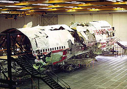 Photo of TWA 800 wreckage.  Wikipedia.org
