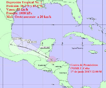 Projection cone for Tropical Depression No.2 by INSMET
