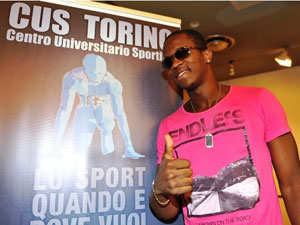 Dayron Robles during the announcement of his comeback, in Turin, Italy