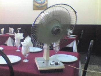 Fan at Pinar del Rio restaurant.