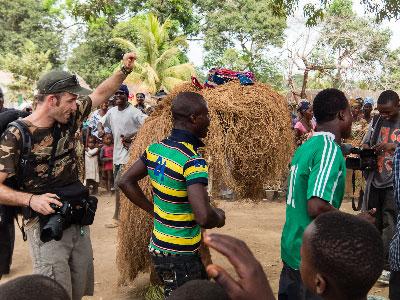 Sergio dancing at the welcoming ceremony in Mokpangumba.