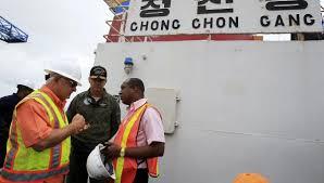 The North Korean ship docked in Panama. Photo: panamericana.com.pa