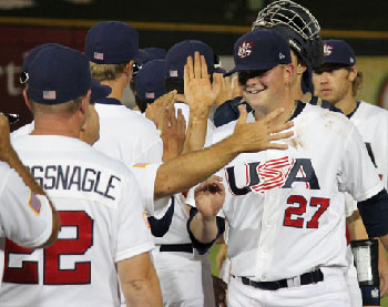 USA celebrates game three win.  Photo: usabaseball.com