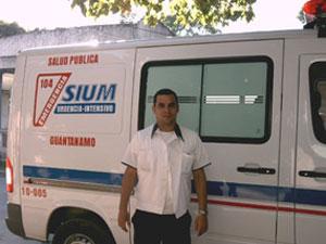 An ambulance belonging to Cuba's Comprehensive Medical Emergency System (SIUM) fleet