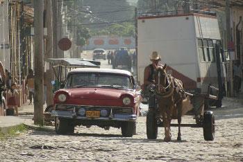 Street from the Cuban beach town of La Boca, Trinidad.