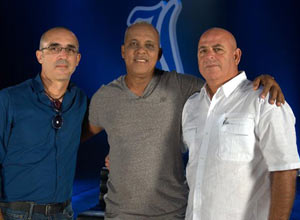 Businessman Alejandro Canton next to Rey Vicente Anglada and Armando Ferreiro, during the filming of a documentary.