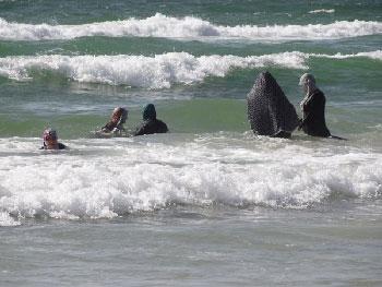 Women swimming, Gaza Beach. Photo: Julie Webb-Pullman