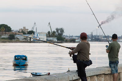 Havana Bay fishing.  Photo: Juan Suarez