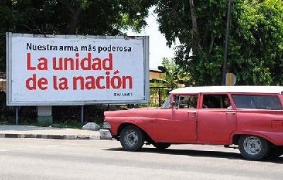 The banners carried by Cuban unions during May Day parades do not ask for salary improvements. On the contrary, they call on members to work more and better. Photo Raquel Perez.