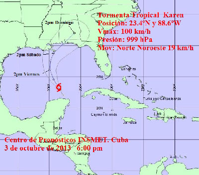 The projected path of Tropical Storm Karen