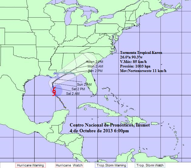 Cuban Weather Service projection cone for Tropical Storm Karen.