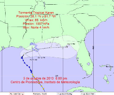 Projected path of Tropical Storm Karen.