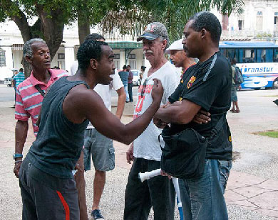 """Emilio, a sports fan who frequents Havana's Parque Central every day to talk about baseball, said this measure """"means a better life for Cuban athletes. They took too long to do it, they should have done it years ago. This is going to keep Cuban baseball players from leaving Cuba en masse."""" Photo: Raquel Perez"""