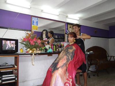 Ruben in his beauty salon.