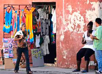 Establishment selling clothes in a neighborhood in Havana. The Cuban government will begin to shut these businesses down as of 2014.