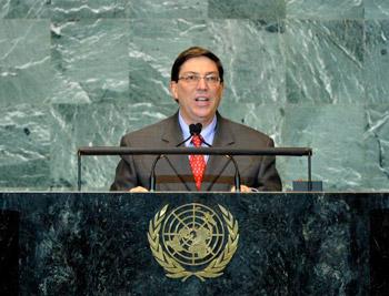 Bruno Rodriguez address the UN General Assembly.  Photo: cubadebate.cu