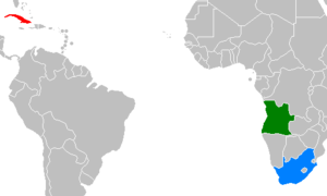 Location of Cuba (red), Angola (green), and South Africa (blue)