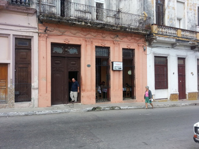 "The ""Aqui"" cafe in Havana's Cerro neigborhood."