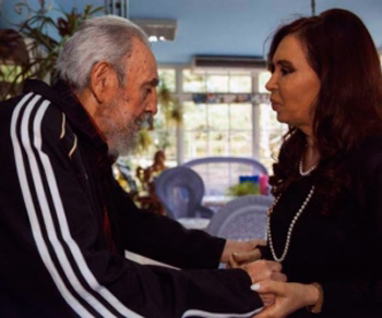 Fidel Castro and Cristina Fernandez during a previous meeting. Archive photo from cubadebate.cu.