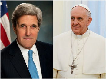 John Kerry and Pope Francis.
