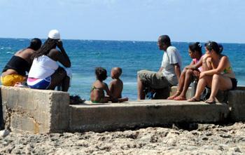 A Cuban family looking north from Jibacoa.