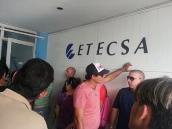 Outside the Etecsa office.