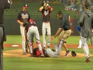 Aroldis Chapman on the ground after being hit by a line drive.  Photo: Royals TV