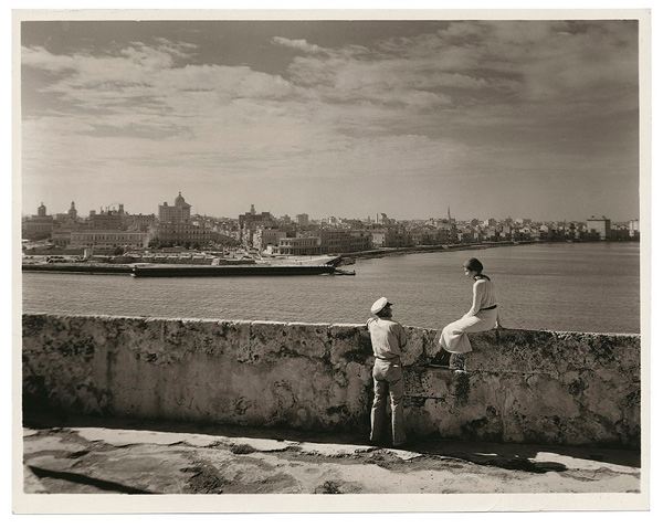 Publicity still for the tourist trade showing Morro Castle from the ramparts looking west over Havana, 1925.