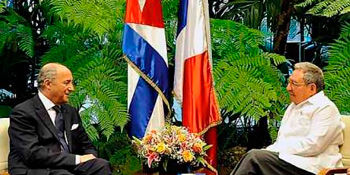 French Foreign Minister Laurent Fabius and Raul Castro met in Havana on Saturday.