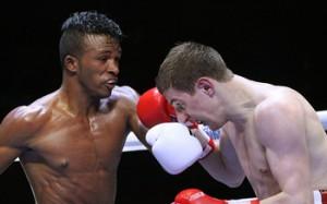 Lightweight (60kg) Lazaro ALVAREZ Cuba Domadores (L) vs Konstantin BOGOMAZOV Russian Boxing Team (R).  Photo: worldseriesboxing.com