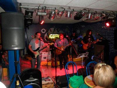 Eddy Escobar's band at the  Yellow Submarine club in Havana.