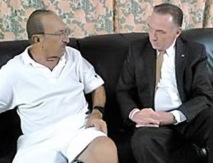 Cy Tokmakjian (left) during a visit from the Canadian MP, Peter Kent, to the prison of La Condesa, late last year.