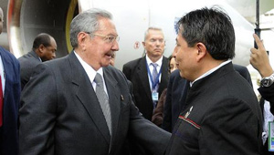 Raul Castro was met at the airport on Friday by Bolivian FM David Choquehuanca.