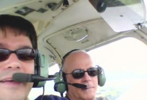 Flying with Rafael del Pino (right) near London, 2007.