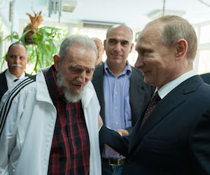 Fidel Castro and Vladimir Putin during a recent meeting at Castro's home in Havana. At the center, Alejandro Castro Soto del Valle. Photo: Alex Castro
