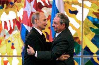 Vladimir Putin and Raul Castro in Havana on  July 11, 2014.
