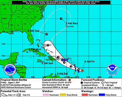 NHC Projection Cone for TS Bertha at 8:00 EDT on Friday.